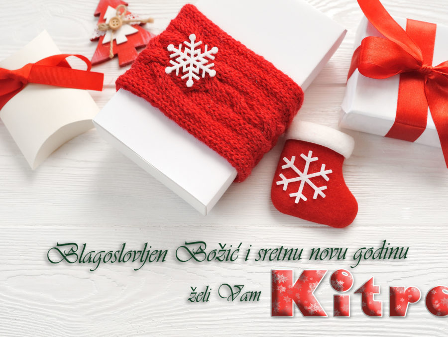 Mockup christmas background with decorations and gift boxes and red bow.